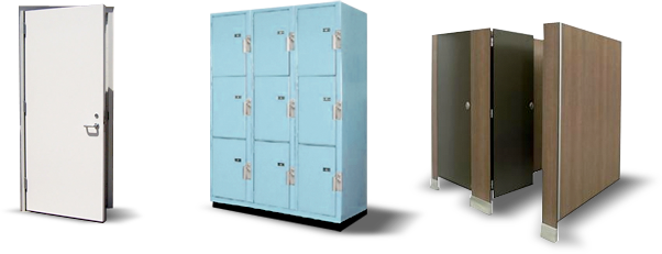 Lockers, Shelving, Toilet partitions and Toilet accessories